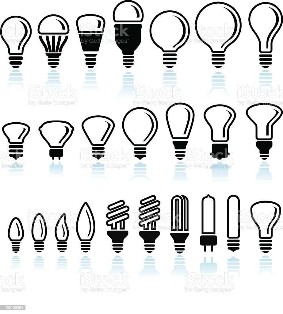 Fluorescent and LED Light Bulb interface icons on White Background vector art illustration