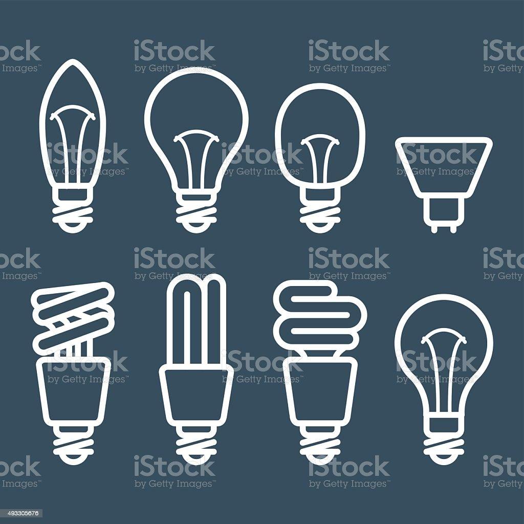 Fluorescent lamp and light bulb icons vector art illustration