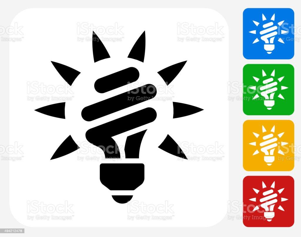 Fluorescent Light Bulb Icon Flat Graphic Design vector art illustration