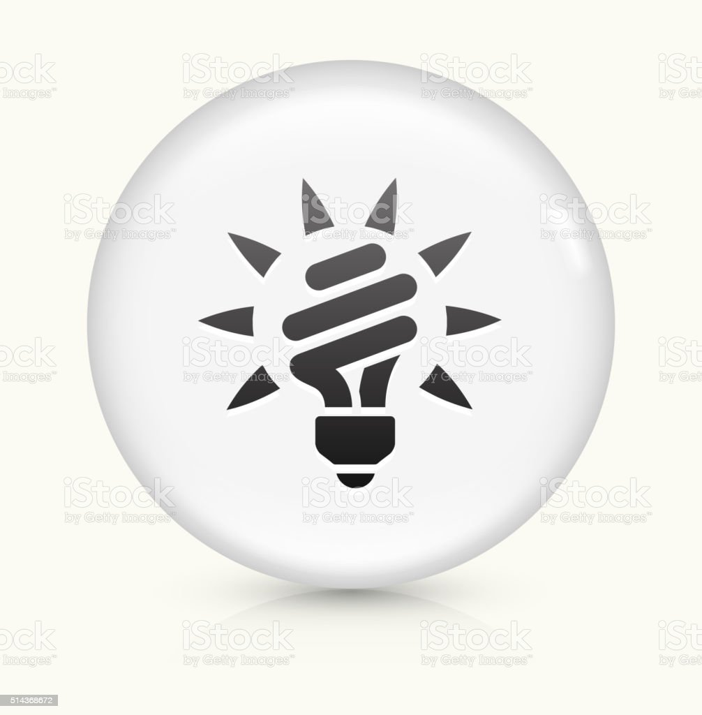 Fluorescent Light Bulb icon on white round vector button vector art illustration