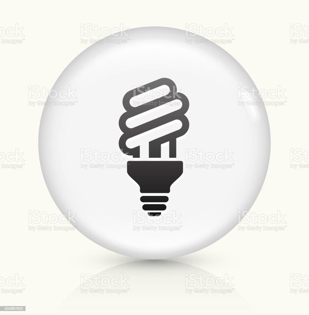 Fluorescent Lightbulb icon on white round vector button vector art illustration