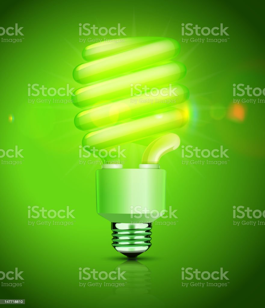 fluorescent lightbulb vector art illustration