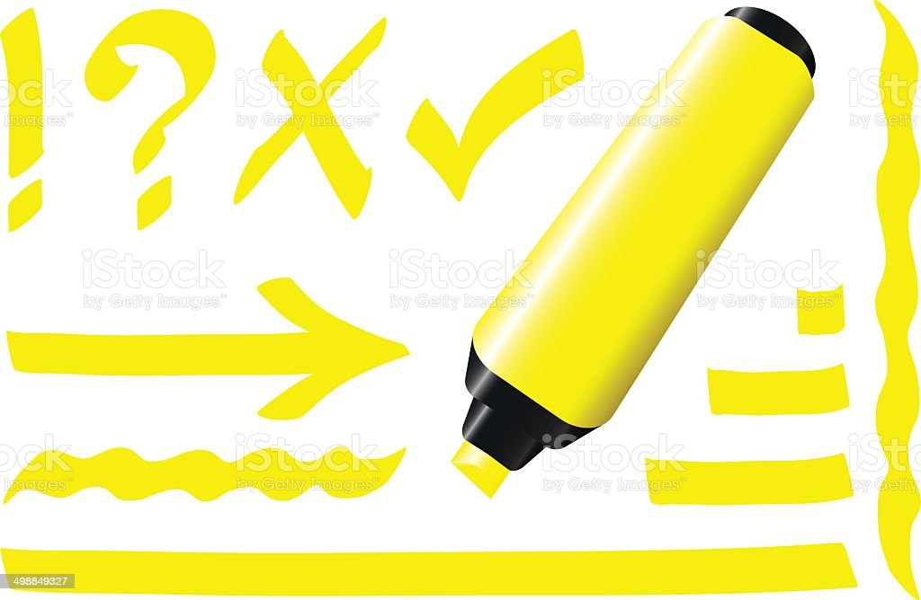 Fluorescent Marker Yellow vector art illustration