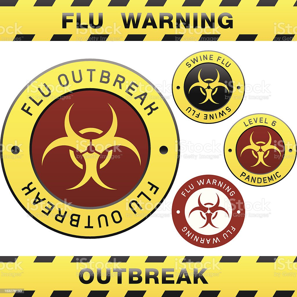 Flur outbreak warning signs royalty-free stock vector art
