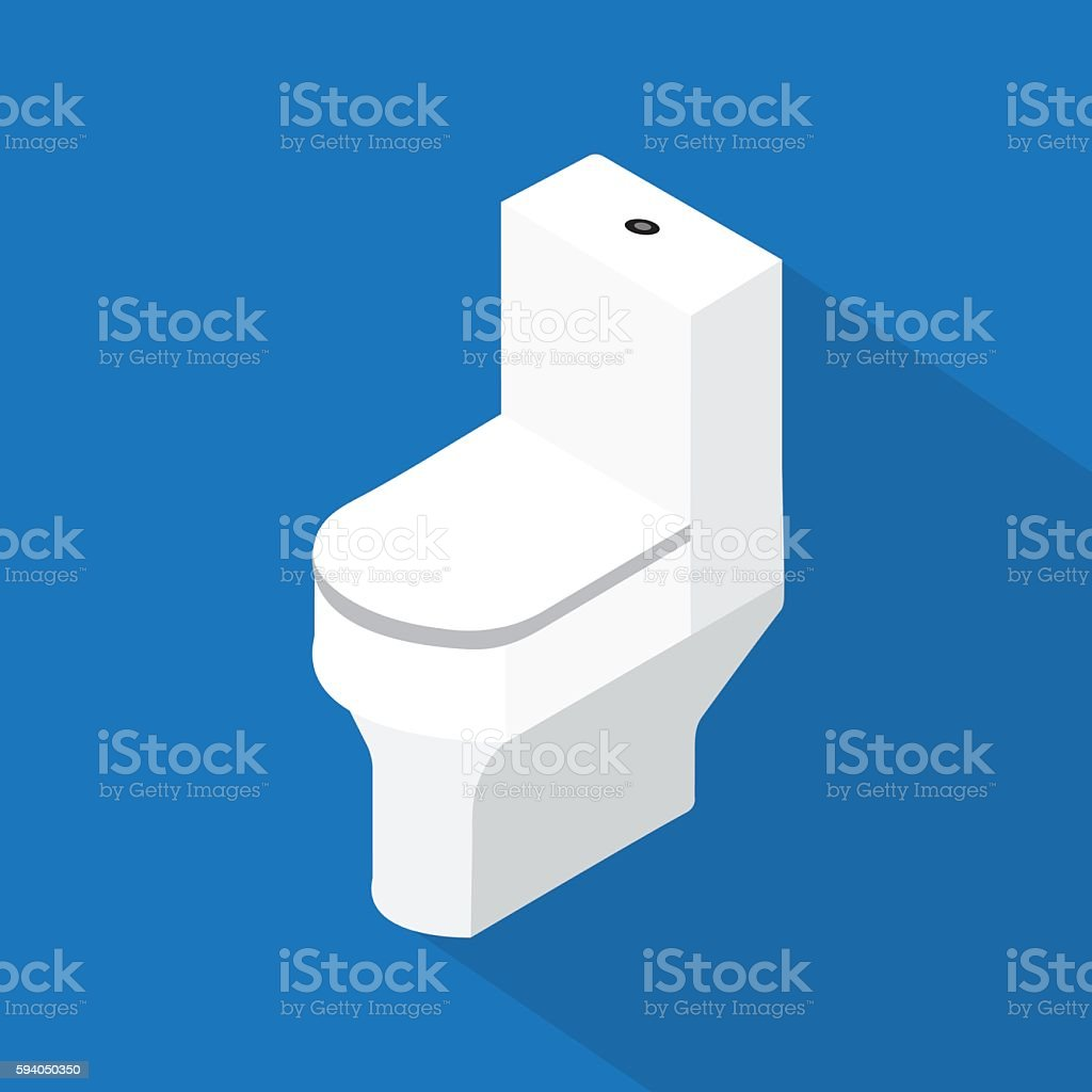 flush toilet ,flat vector design vector art illustration