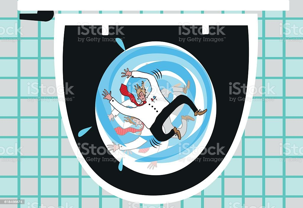 Flushed down the toilet vector art illustration
