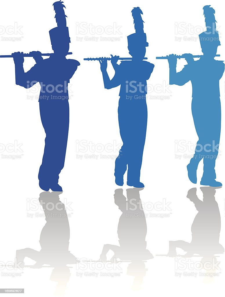 Flutist - Marching Band royalty-free stock vector art