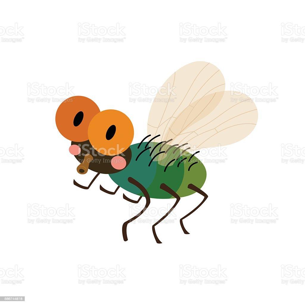 Fly animal cartoon character vector illustration. vector art illustration