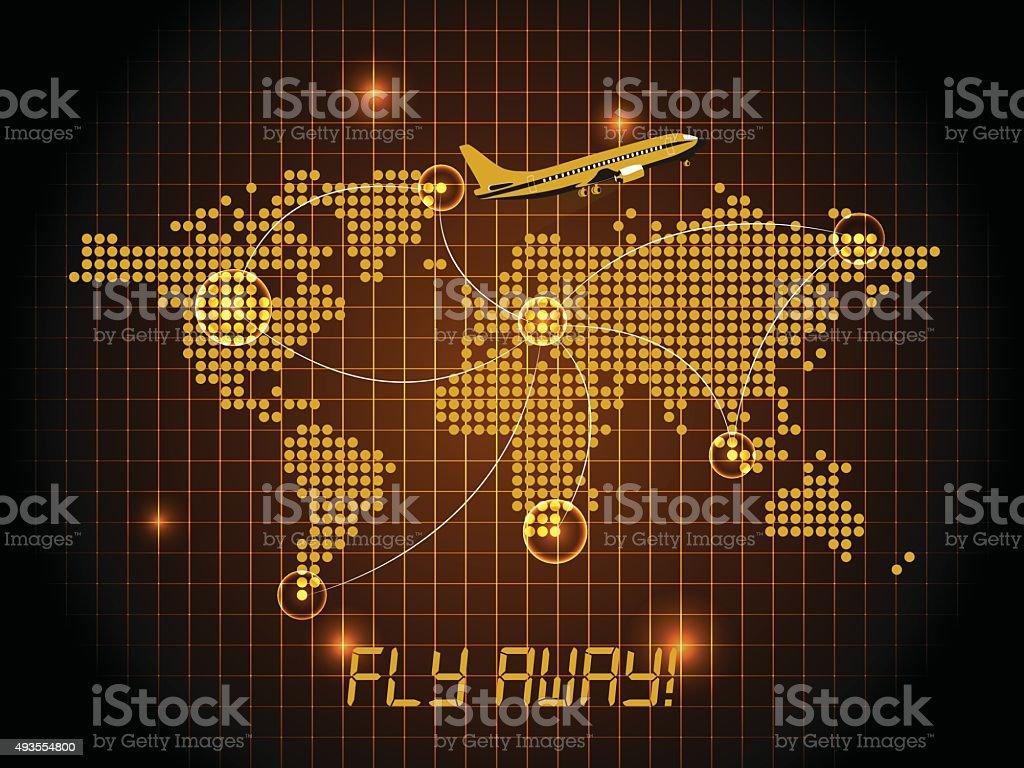 Fly away map - orange design vector art illustration