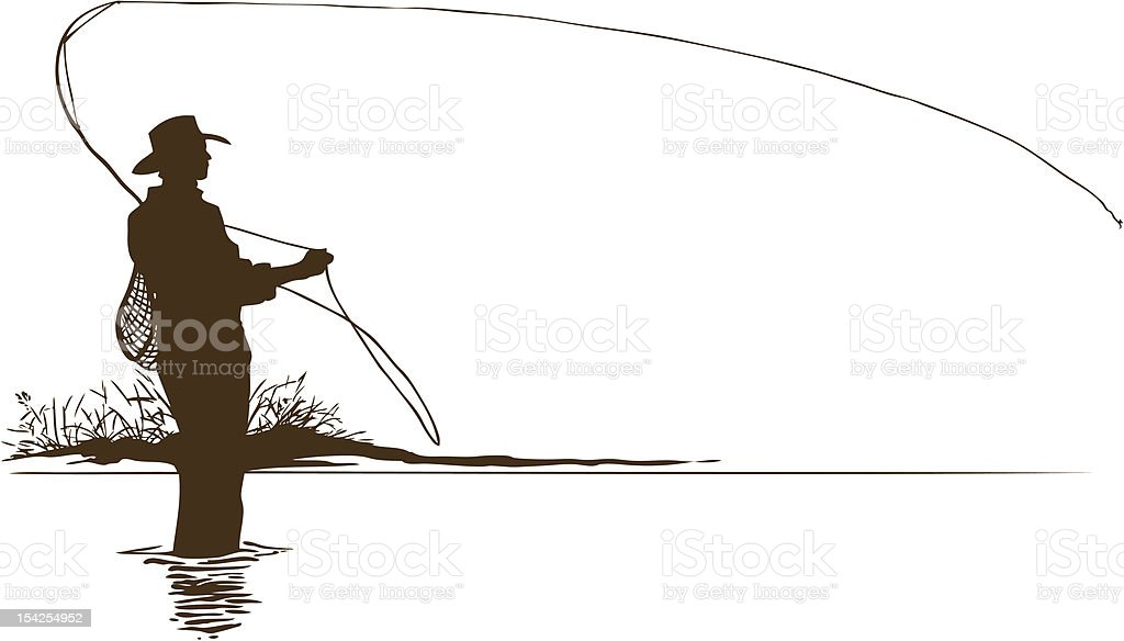 Fly Fisherman Silhouette vector art illustration