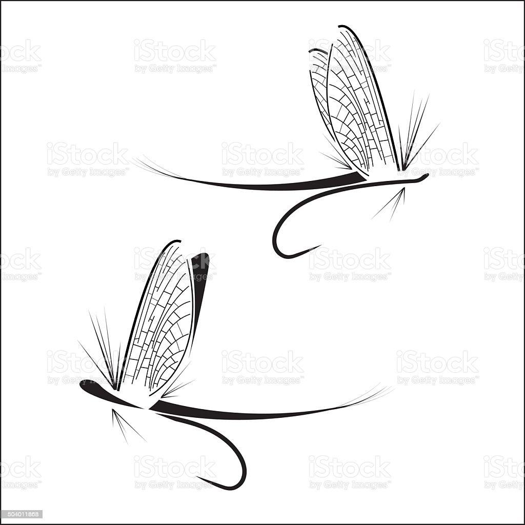 Fly fishing icons vector art illustration