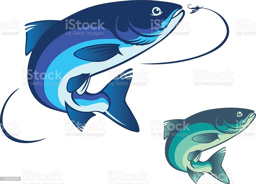 fly fishing salmon vector art illustration