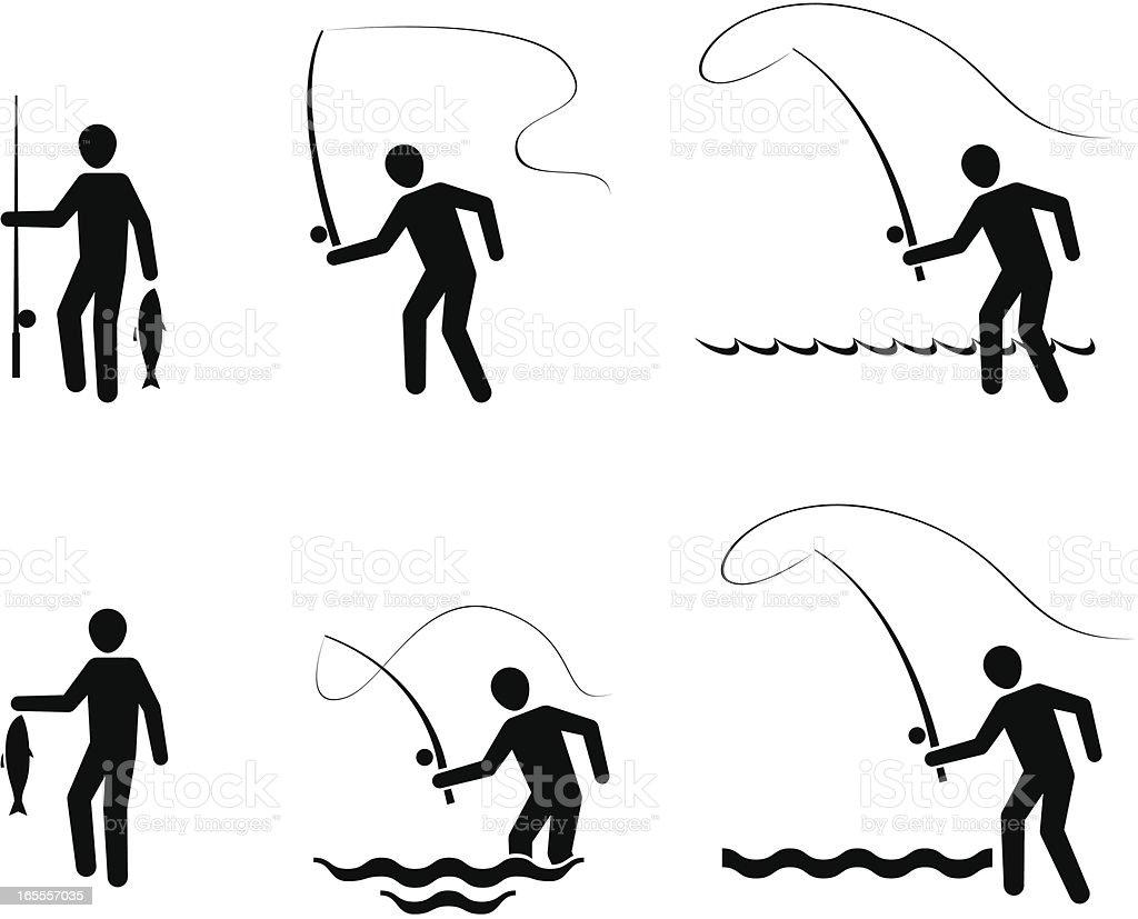 Fly fishing symbols vector art illustration