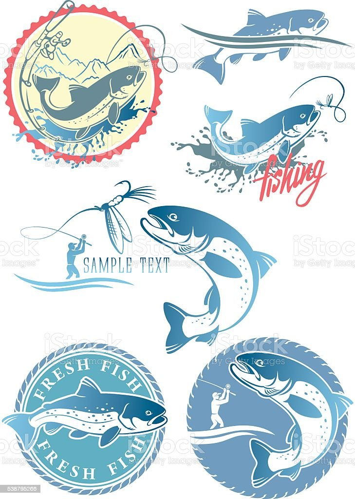 fly fishing trout vector art illustration