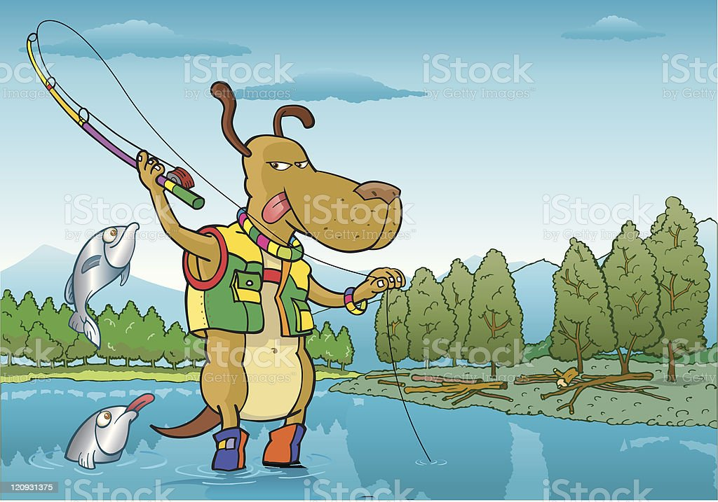 Fly Fishing vector art illustration
