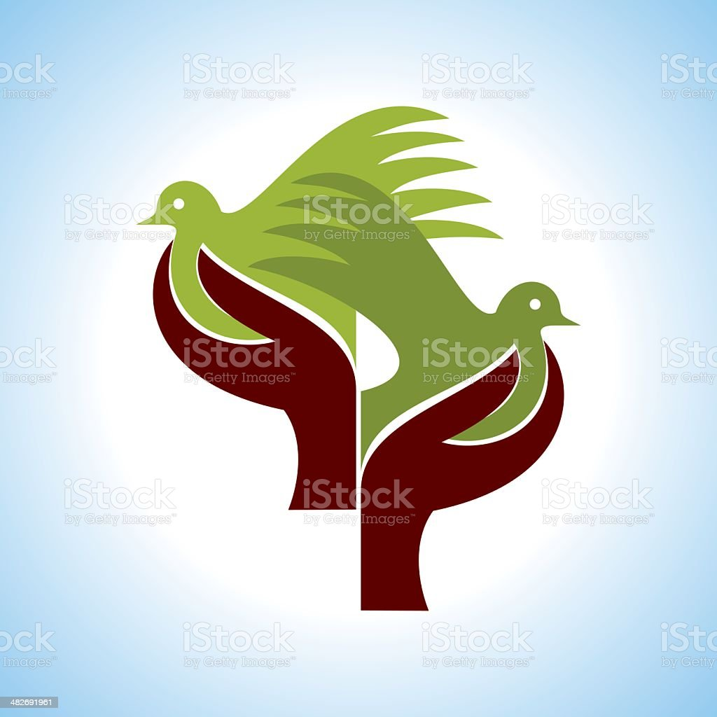fly of bird to hand royalty-free stock vector art