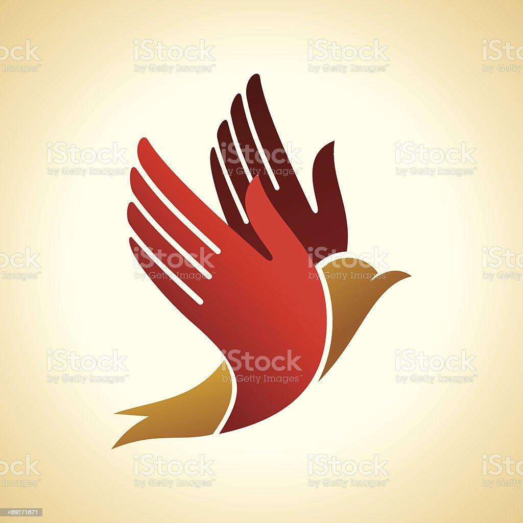 fly of bird to hand. vector art illustration