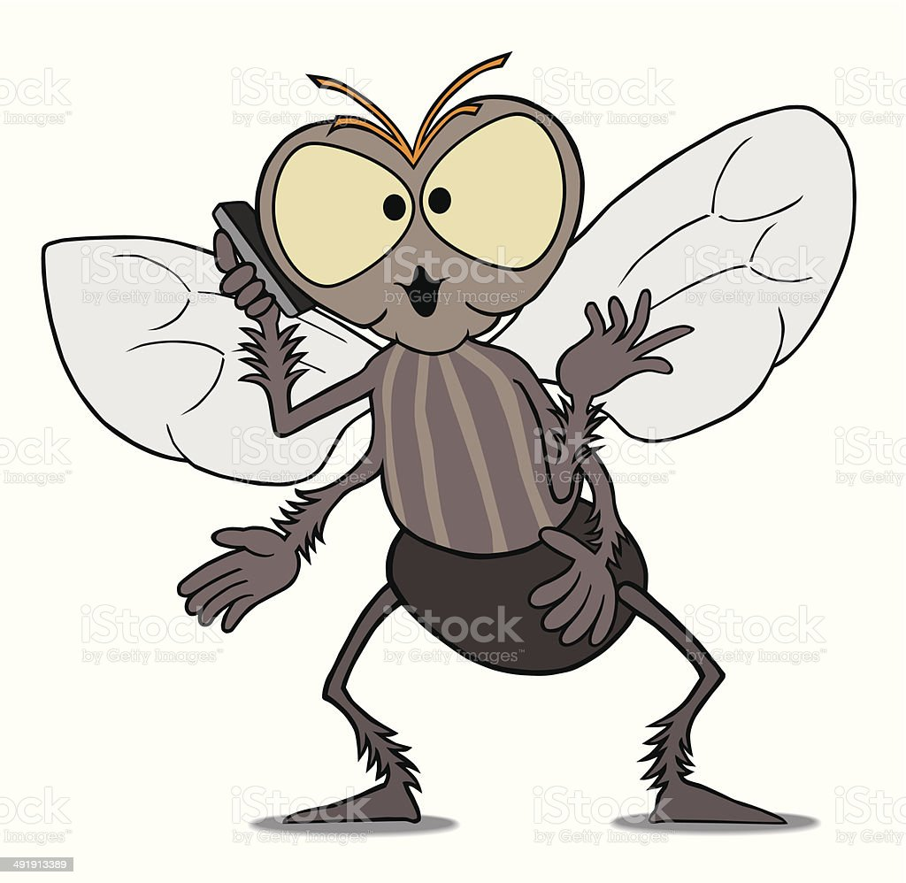Fly on Cell Phone vector art illustration
