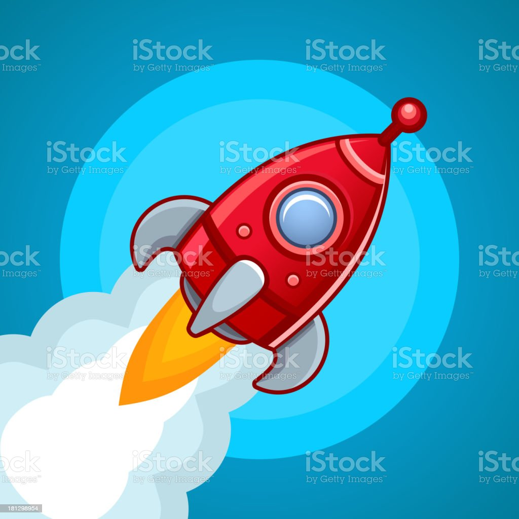 Fly rocket on blue sky royalty-free stock vector art