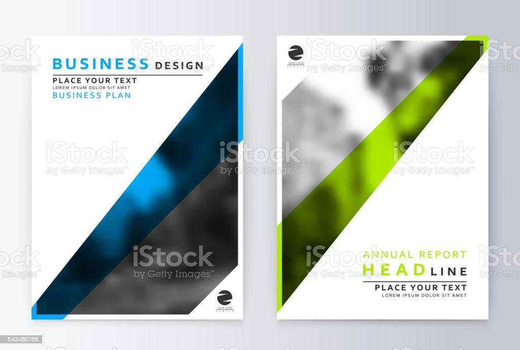 Flyer cover design green and blue. Template brochure. vector art illustration
