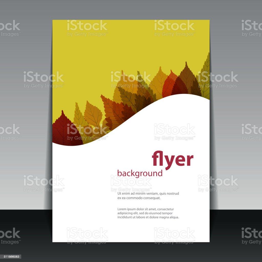 Flyer or Cover Design - Autumn Leaves vector art illustration