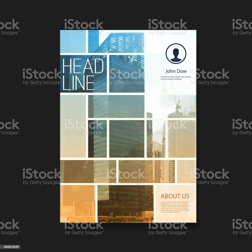 Flyer or Cover Design with Skyscrapers vector art illustration