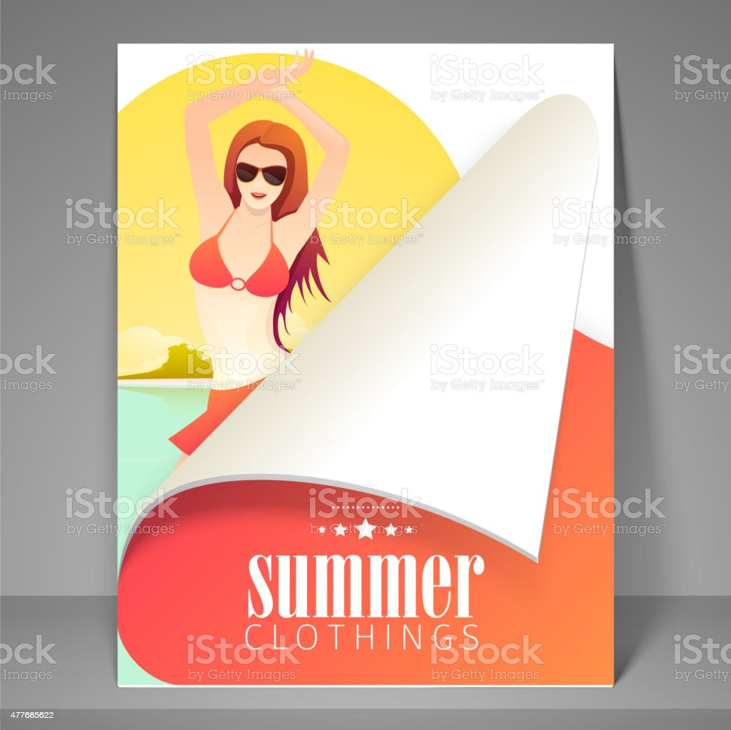 Flyer or template for summer clothings. vector art illustration