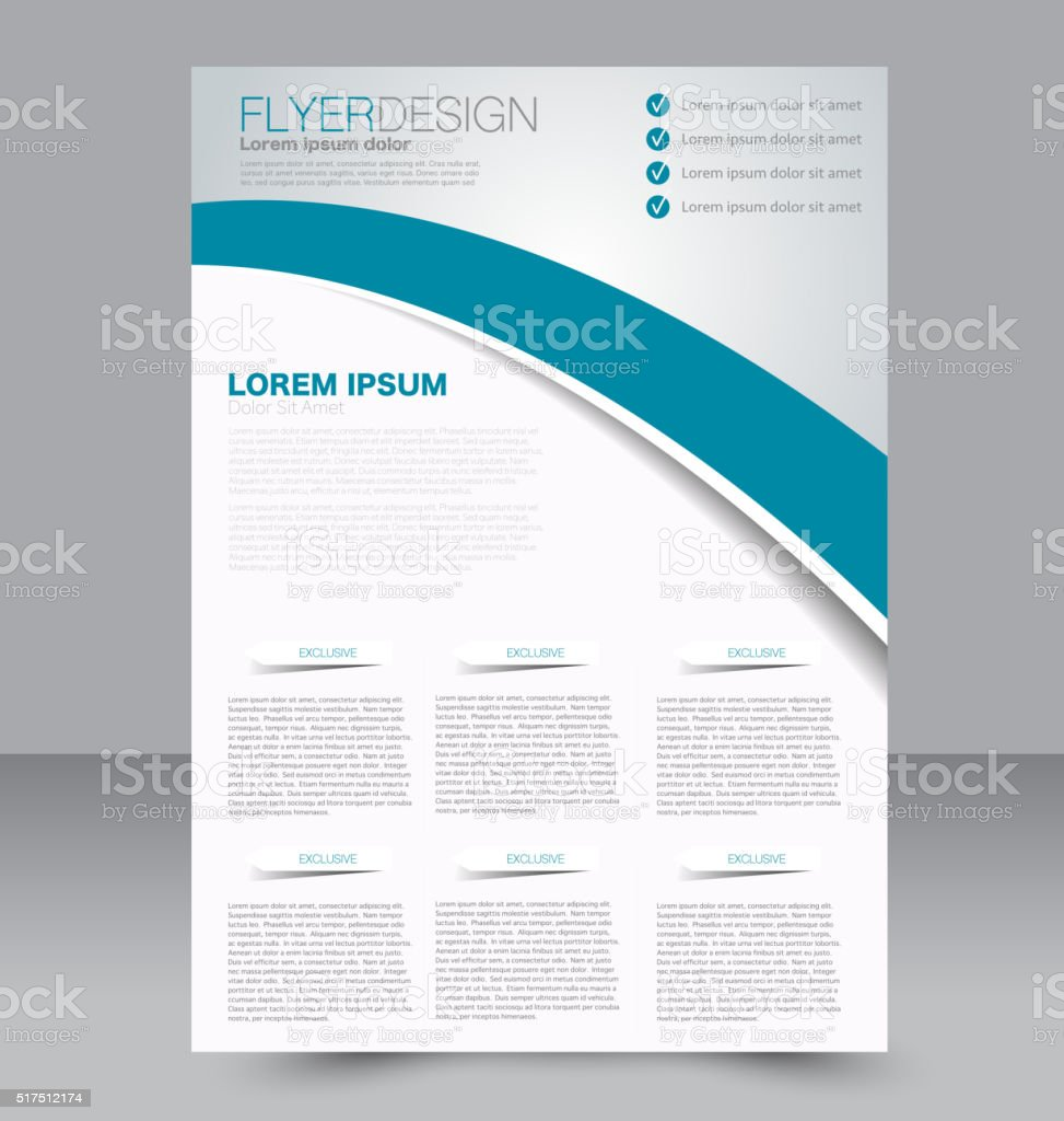 Flyer template. Business brochure. Editable A4 poster for design vector art illustration