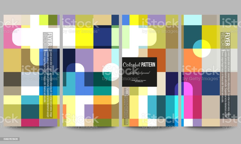 Flyers set. Abstract colorful business background, modern stylish vector texture. vector art illustration