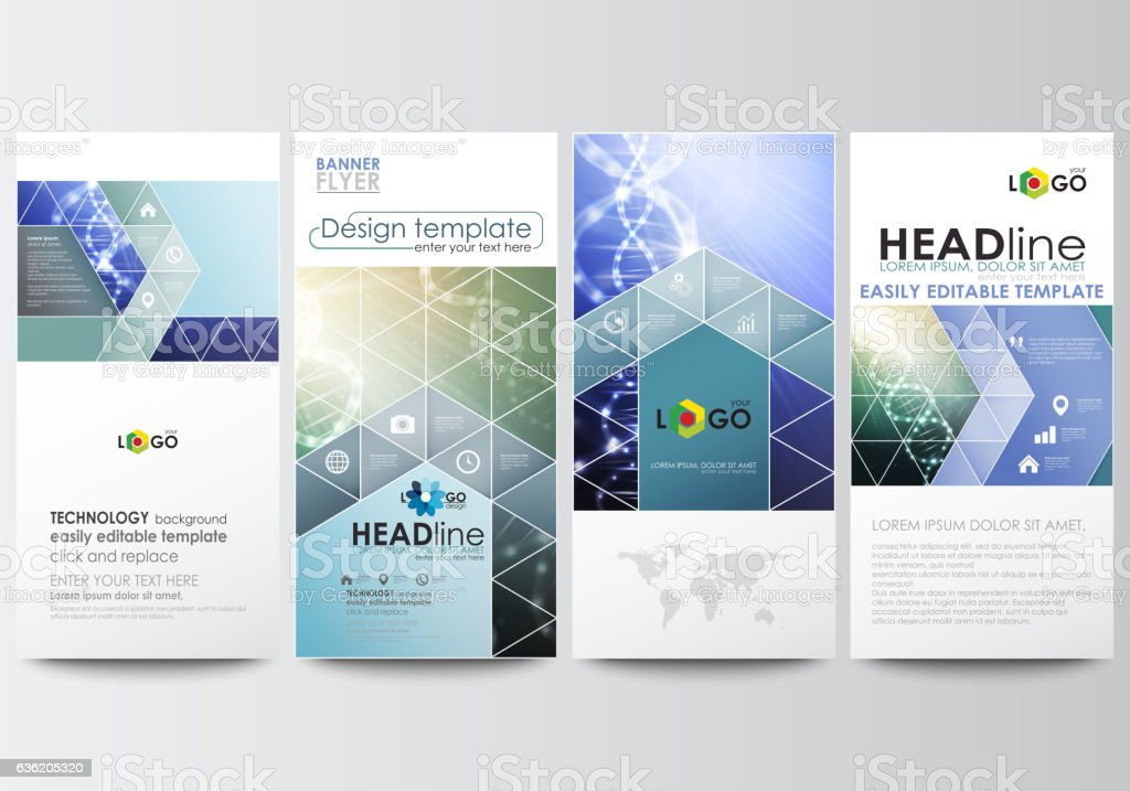 Flyers set, modern banners. Business templates. Cover design template, easy vector art illustration