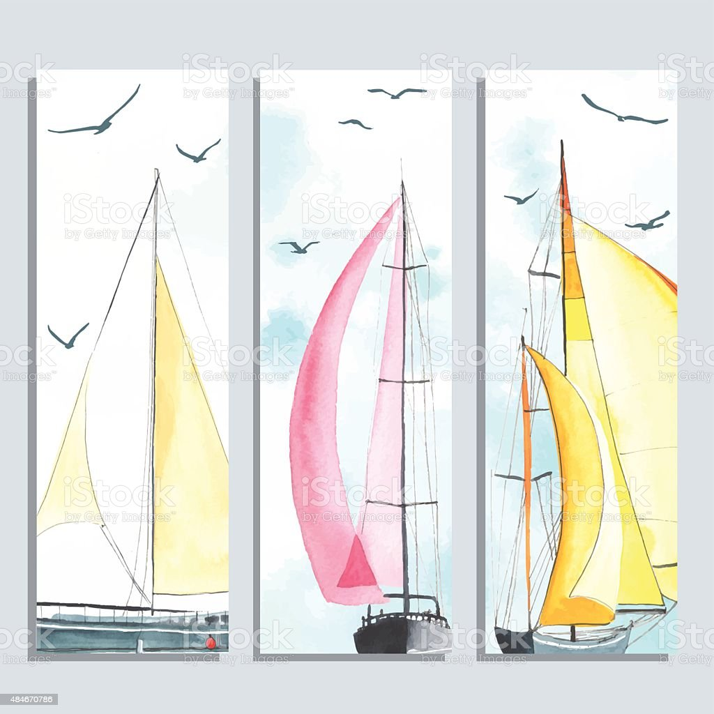 Flyers with watercolor sailboats vector art illustration