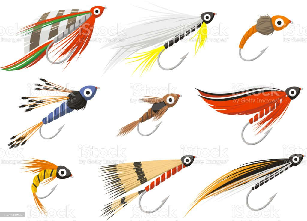 Flyfishing Fly fishing equipment vector art illustration