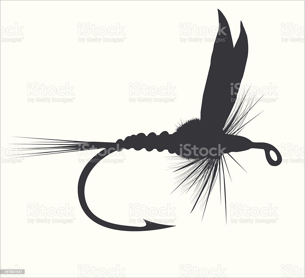 Fly-fishing vector art illustration