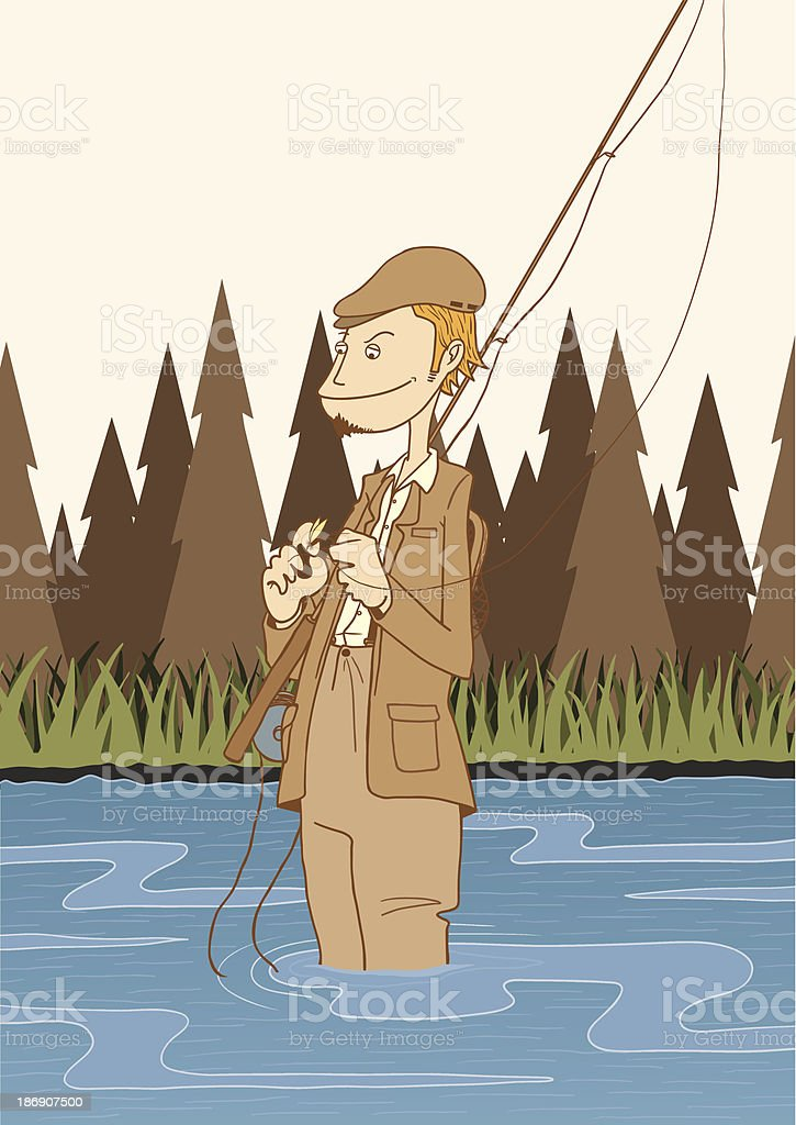 FlyFishingAngler vector art illustration