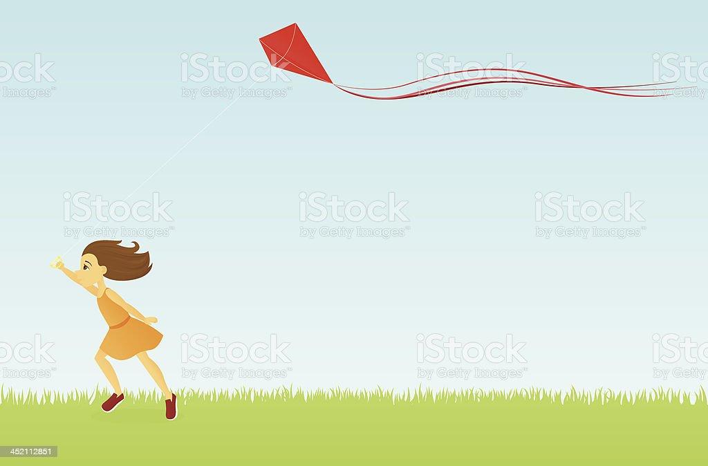 Flying a Kite vector art illustration