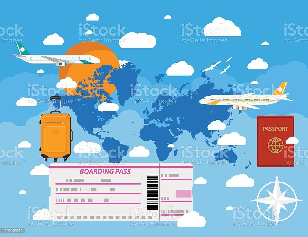 flying a plane to travel destination vector art illustration