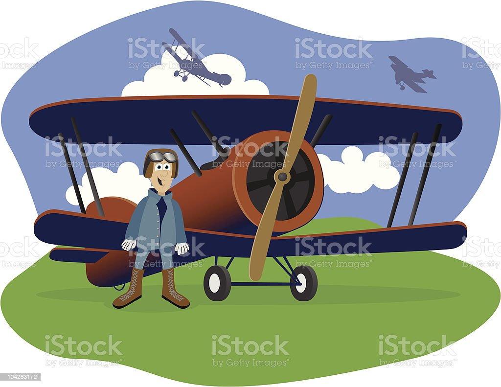 Flying Ace royalty-free stock vector art