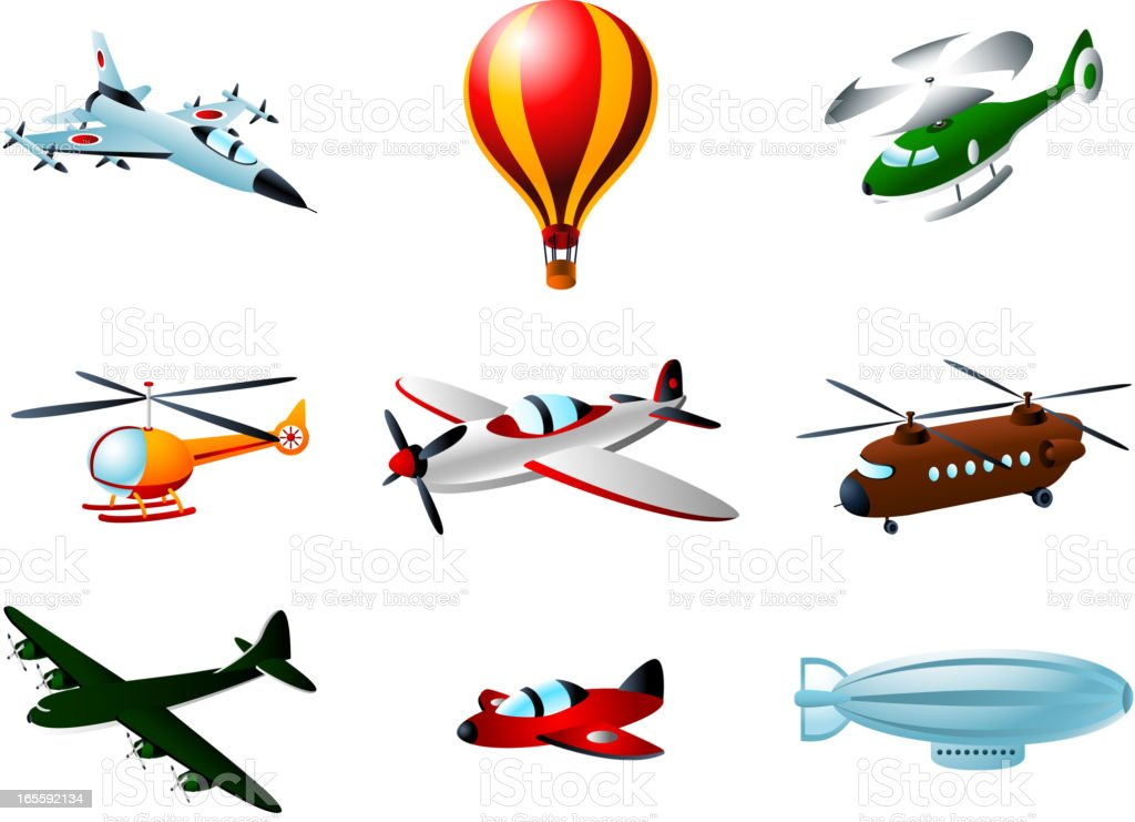 Flying Aircraft Plane Air Balloon Helicopter Zeppelin royalty-free stock vector art