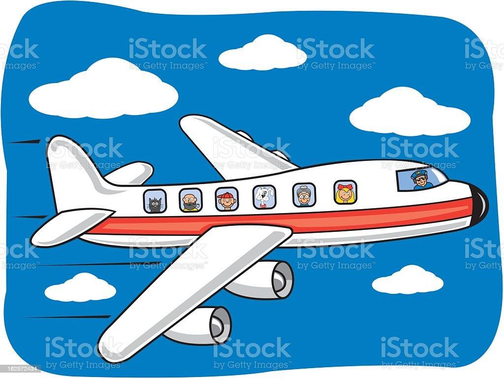 Flying Airplane Cartoon royalty-free stock vector art