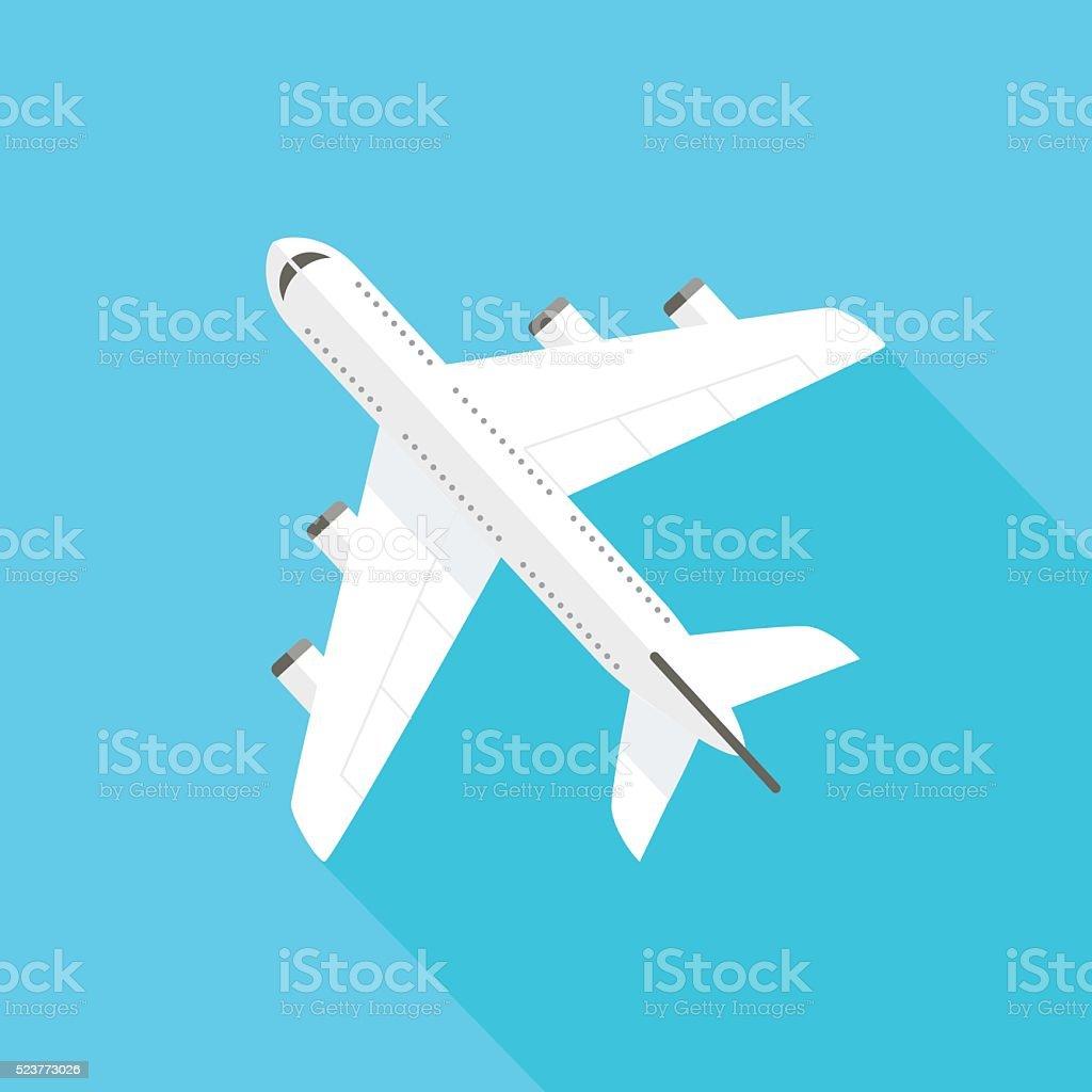 Flying Airplane - Icon vector art illustration