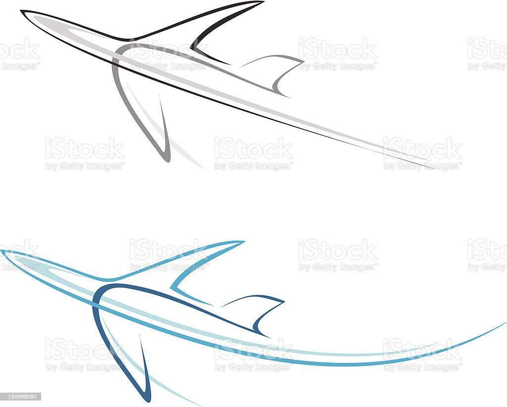Flying airplane - isolated vector icon royalty-free stock vector art