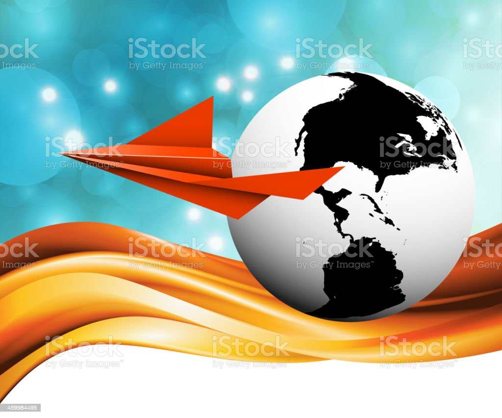 Flying around the world royalty-free stock vector art