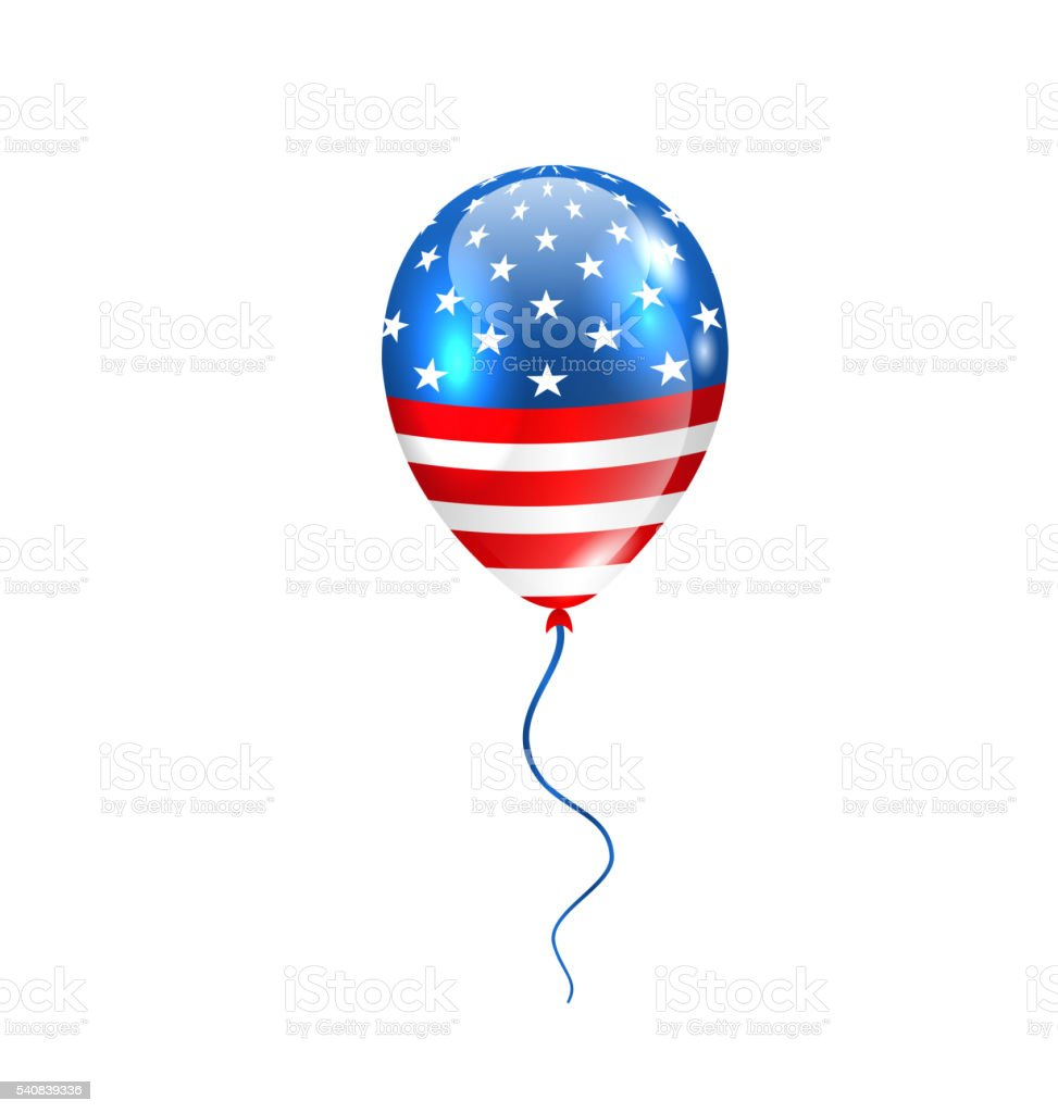 Flying Balloon in American Flag Colors vector art illustration