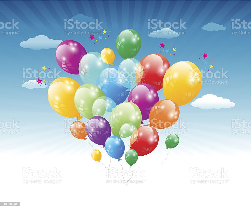 Flying Balloons royalty-free stock vector art