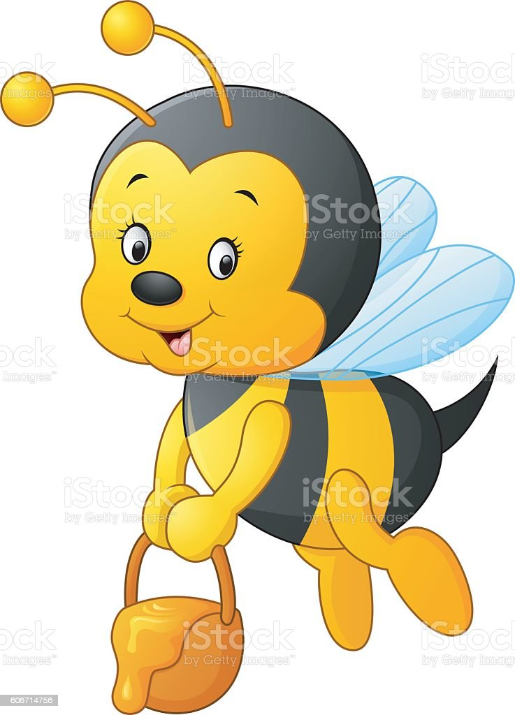 Flying Bee cartoon holding honey bucket vector art illustration