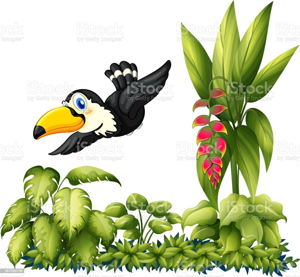 Flying bird in the garden royalty-free stock vector art