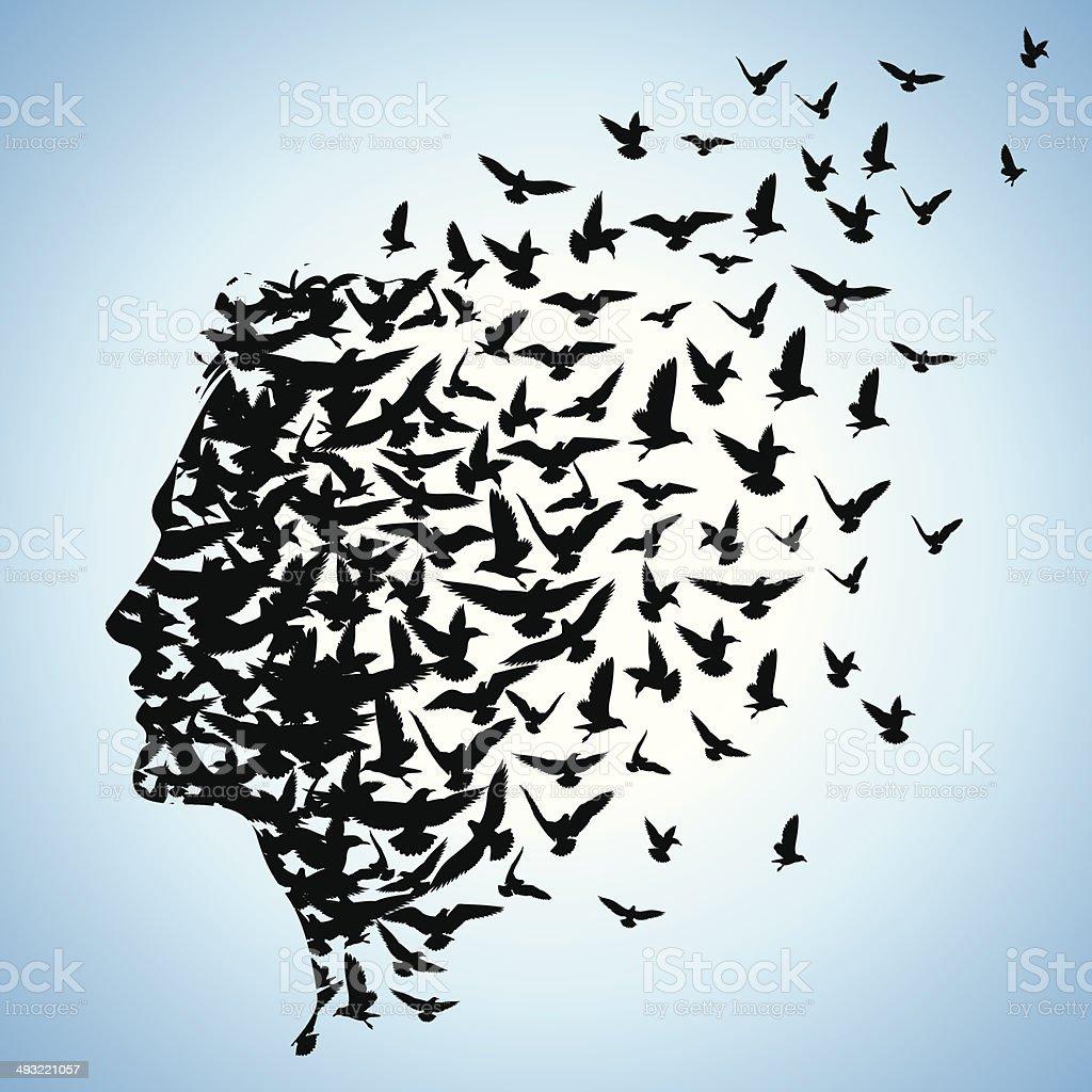flying birds to human head vector art illustration