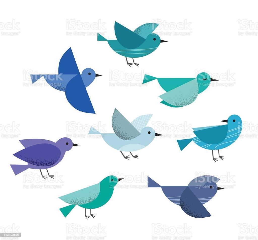 Flying birds vector art illustration