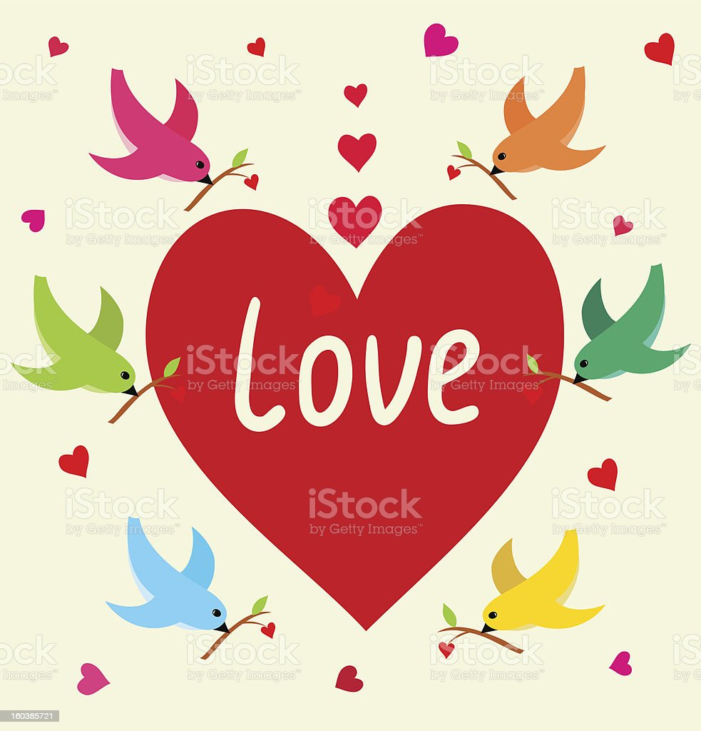 Flying birds with heart`s branch in Love Banner. royalty-free stock vector art