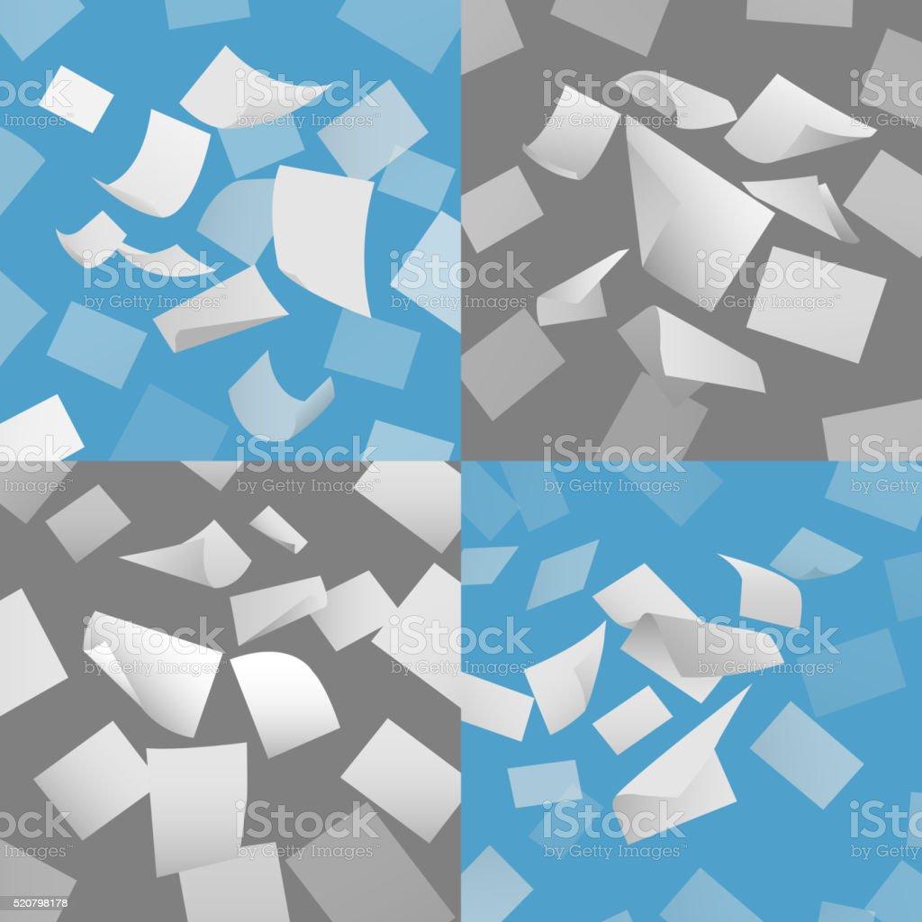 Flying blank paper sheets vector set vector art illustration